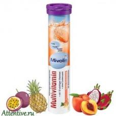 Комплекс важных Витаминов, шипучий тропический фрукт. Mivolis 20 таблеток.