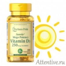 Витамин Д 3 высокой концентрации 250 мкг, 10000 единиц, Puritan Pride, 100 капсул.