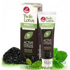 Черная тайская зубная паста Twin Lotus Active Charcoal, 100 гр.