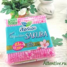 Ультра тонкие прокладки с ароматом Сакуры, Laurier Super Ultra Slim Сакура 22,5 см, 10 шт.