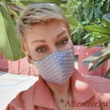 Маска лицевая защитная, антивирусная, в горошек.
